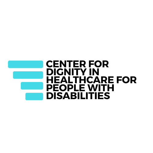 words in black: Center For Dignity in Healthcare For People with Disabilities; four blue lines on left