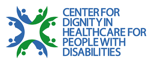 blue, all-caps letters saying the 'Center for Dignity in Healthcare for People with Disabilities' next to the center logo